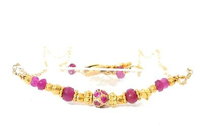 18k gold gemstone bracelet stack link layer Sapphire Ruby round rondelle india Round Link Ruby Bracelet