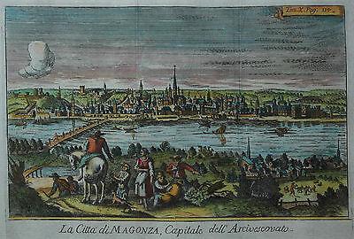 Mainz - La Citta di Magonza ... - Seltener Kupferstich von Salmon um 1740