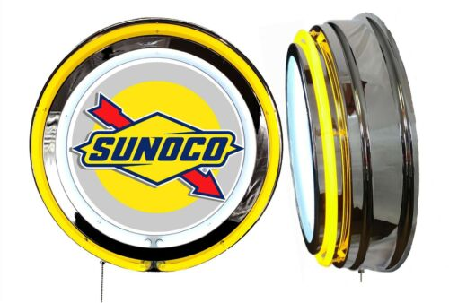 Sunoco Gas n Oil Sign, Neon Sign, YELLOW Outside Neon, Chrome Shell, No Clock