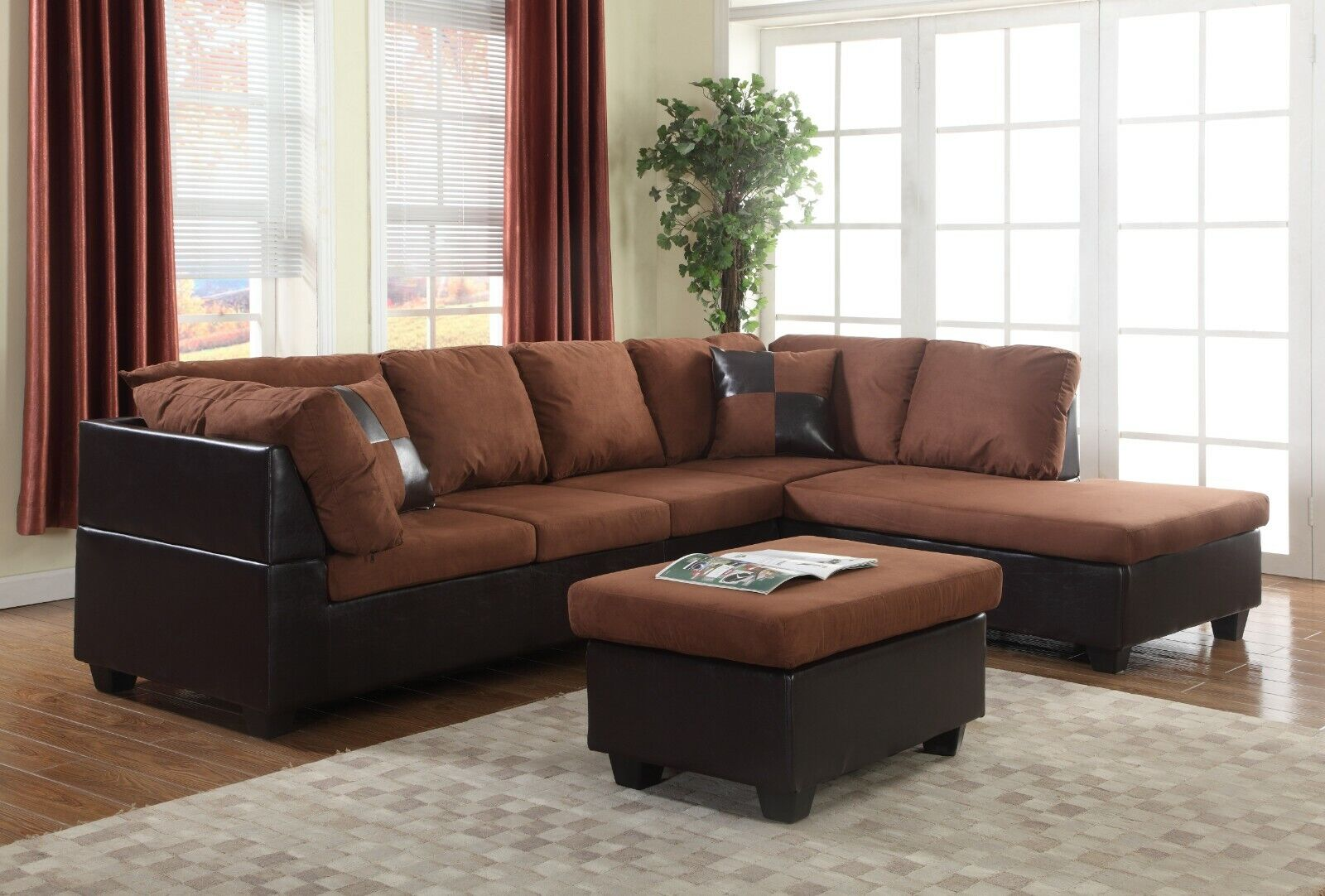 Living Room Set Chocolate Microfiber Faux Leather Sectional Sofa, Free  Shipping!