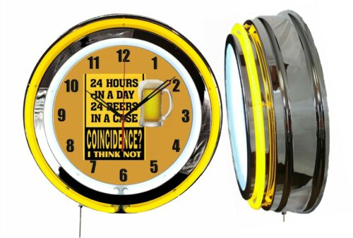 "24 Hours 24 Beers Coincidence 19"" Double Neon Clock Yellow Man Cave Garage Bar"