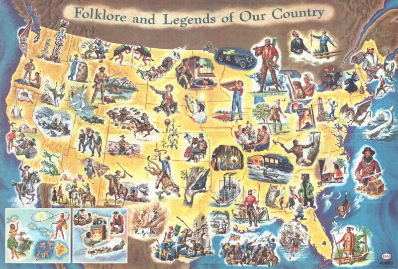 1960 Esso Folklore and Legends Map of the United States