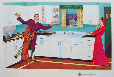 VINTAGE 1957 YOUNGSTOWN KITCHEN MULLINS PROMOTIONAL PLACEMAT LITHO REMIE HAMON 4