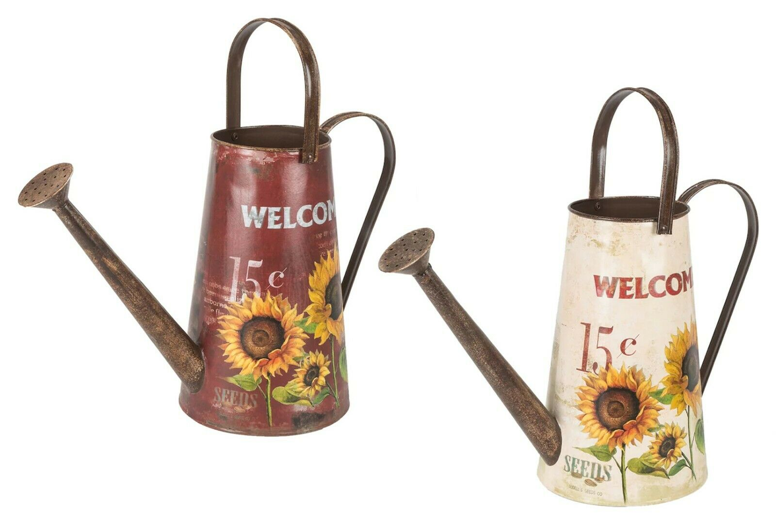 red or white decorative farmhouse watering can