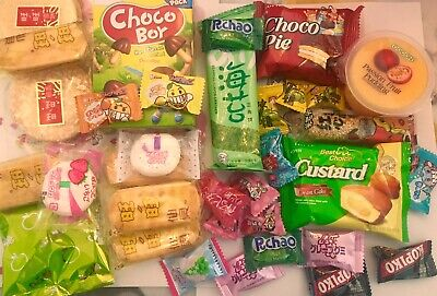 ASIAN SNACK BOX 46 pc Japanese,Korean, and Chinese snacks & candy Lotte etc