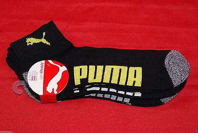 Puma Mens Sport Ankle 3 Pair Socks 10-13 Shoe 6-12.5 Black Gym Running Work NWT