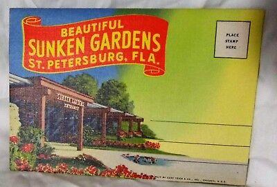 Vintage 1930's Fold out Postcard Sunken Gardens St. Petersburg Florida
