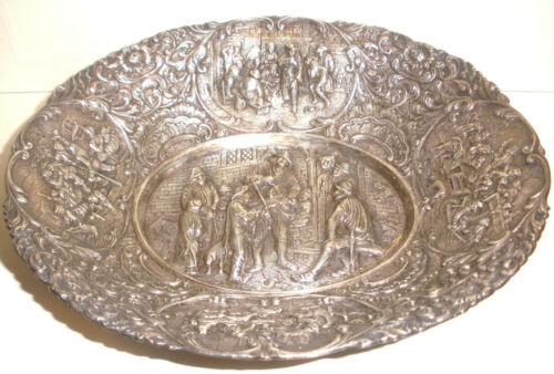 Antique Dutch silver repousse people tavern scenes large bowl hallmarks