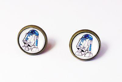 R2-D2 Earrings Star Wars Cosplay Darth Vader Movie Robot White Men Unisex Stud - Female Darth Vader Cosplay