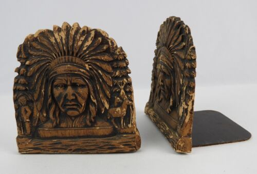 """Pair of Vintage Native American Indian Chief Book Ends Wooden / Resin 5"""" tall"""