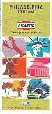 1968 ATLANTIC RICHFIELD Road Map PHILADELPHIA Pennsylvania Lansdowne Merion