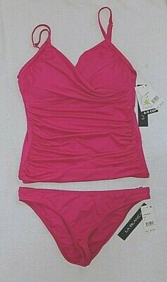 LaBlanca Bright Berry Tankini Set size 8 with Bottoms size 10 Adjustable Cup