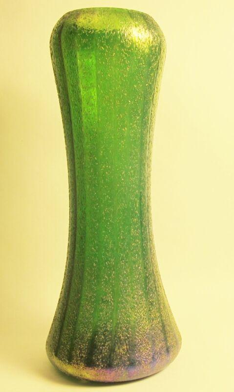 """Fine Antique 12.5"""" BOHEMIAN Heavily Iridized Art Nouveau Glass Vase  c. 1910"""