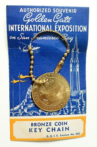 1939 Golden Gate Intl. Expo BRONZE COIN KEY CHAIN on ORIGINAL CARD,San Francisco