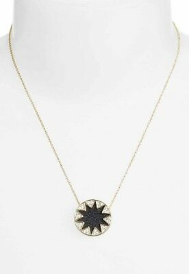 House of Harlow 1960 Mini Pave Sunburst Pendant Necklace Black Gold NWTs
