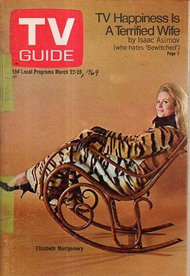 1969 Tv Guide March 22   Elizabeth Montgomery   Bewitched  Isaac Asimov  B Bain
