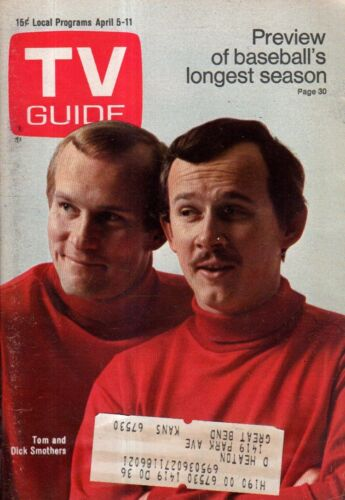 1969 Tv Guide April 5 - Smothers Brothers; I Traum von Jeannie; Kate Smith