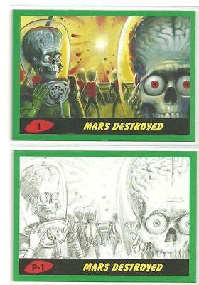 2017 Topps MARS ATTACKS Revenge complete GREEN 110-card set 55 base 55 pencil