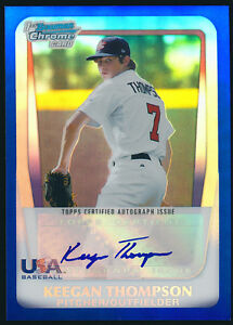 2011 Bowman Chrome USA Blue Refractor Keegan Thompson Rookie Auto /99 - QTY