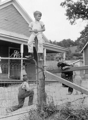 1939 Wisconsin School Playground PHOTO,Farm Kids Playing, Great Depression Boys