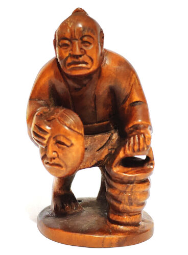 """Y6405 - 2"""" Hand Carved Japanese Boxwood Netsuke : Man selling Mask"""