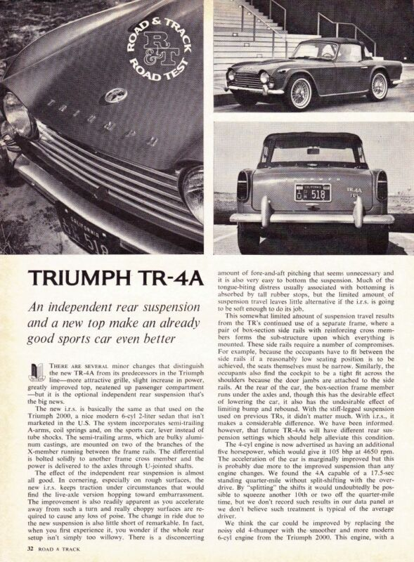 1965 TRIUMPH TR-4A  ~  NICE ORIGINAL 3-PAGE ROAD TEST / ARTICLE / AD