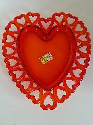Red Westmoreland ? Glass Lattice Edge HEART dish
