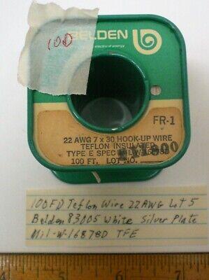 100 Ft. Teflon Wire 22 Awg Belden 83005 Silver Plate Mil-w-16878d Lot 5 Usa