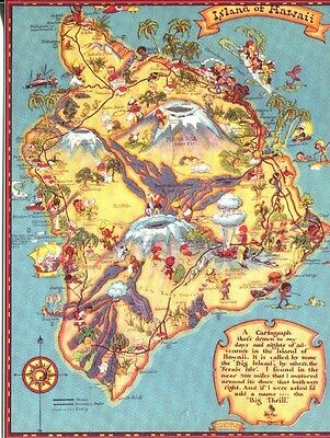 POST CARD OF AN OLD TOURIST MAP OF THE BIG ISLAND OF HAWAII, HAWAII
