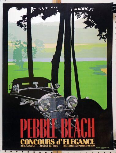 1986 Pebble Beach Concours original event poster ~ Mercedes ~ Ken Eberts