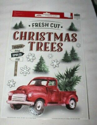 Christmas Window Clings RED TRUCK WITH TREE, FRESH CUT CHRISTMAS TREES