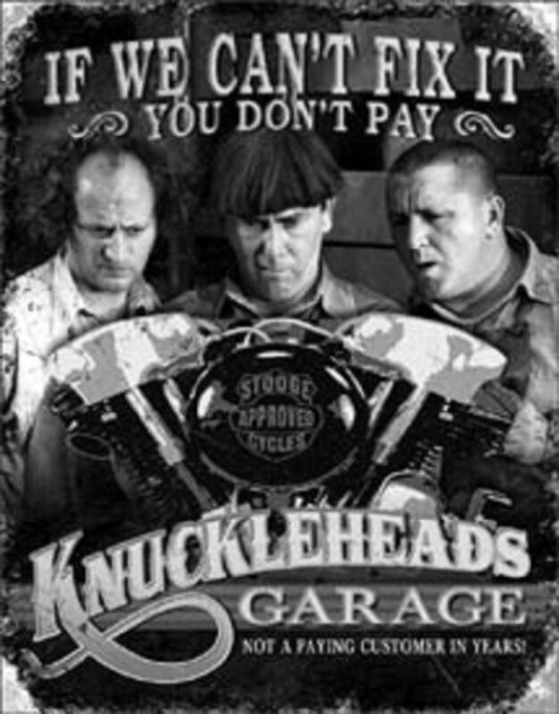 Three Stooges Knucklehead Garage Novelty TIN SIGN Vintage Motorcycle Poster