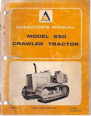 Allis Chalmers 650 Crawler Tractor Operators Manual 1972