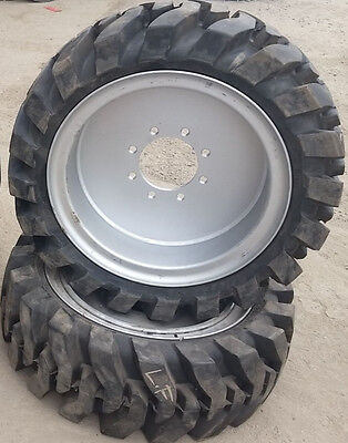 2- Tires With Wheels Solid 33x12-20 12-16.5 Skid-steer Loader Tire 331220