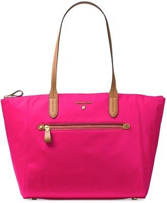 New michael kors kelsey top zip Large tote ultra pink nylon bag troly sleeve