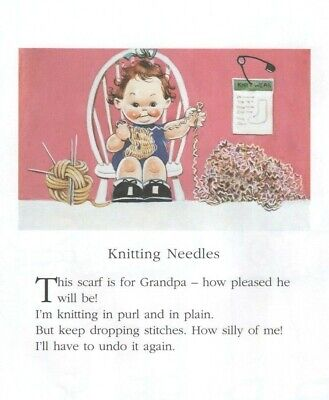 MABEL LUCIE ATTWELL CHARMING ORIGINAL BOOK PRINT FROM 1990's GRANDPA'S SCARF for sale  Shipping to Ireland