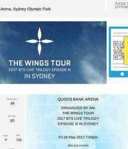 Bts wings concert in Sidney Cat3 ticket Watson North Canberra Preview