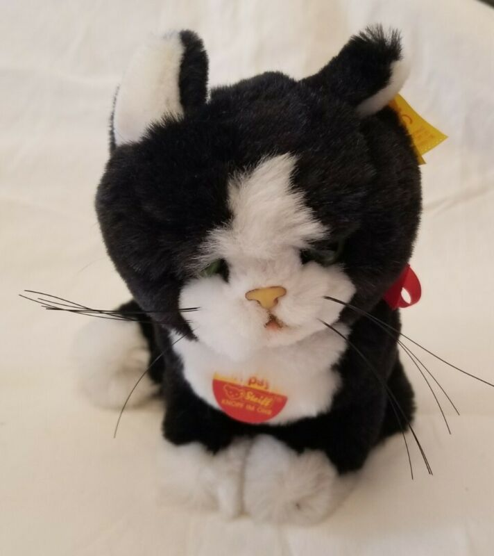 Steiff Tapsy Plush Cat Black & White With Original Tags
