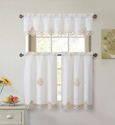 3 Piece Doily Embroidered Kitchen Window Curtain Set: Beige and Gold ()