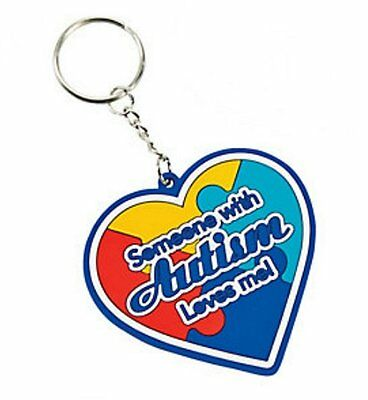 Someone with Autism Loves me Heart Puzzle Piece Keychain-Autism Awareness (Heart Puzzle Piece Keychain)