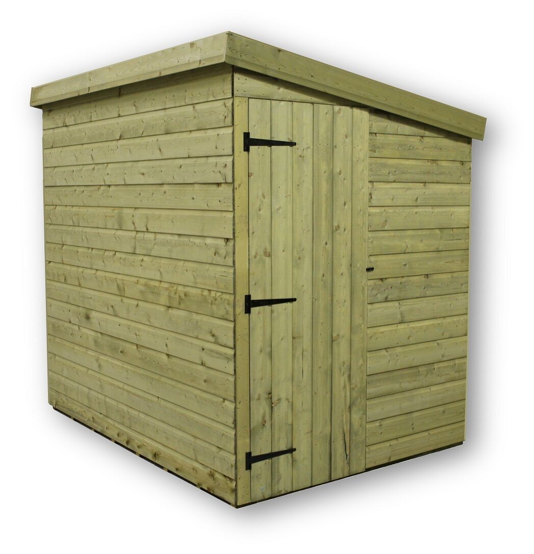 7x6 garden shed shiplap pent roof tanalised door right end