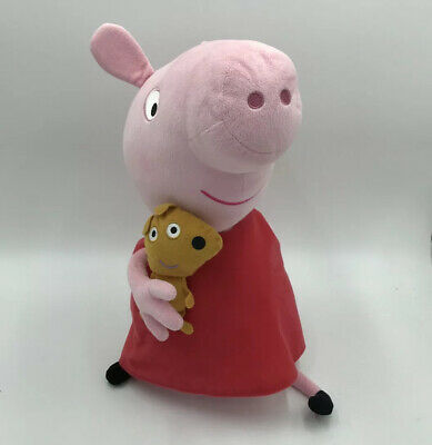 """Peppa Pig Ty Large 19"""" Pink With Red Dress Holding Bear Plush Stuffed Animal 17"""