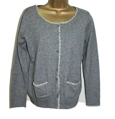 Johnstons of Elgin Ladies Cardigan M 12 14 Cashmere Silk Grey Pockets Button Up