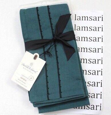 Hearth & Hand with Magnolia 4-Pk Black Embroidered Linen Cotton Napkins Blue 4pk Servietten