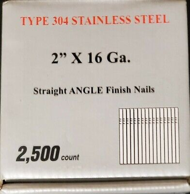 16 Gauge. 2 Straight Finish Nails. Stainless Steel. 2500 Count Per Box.
