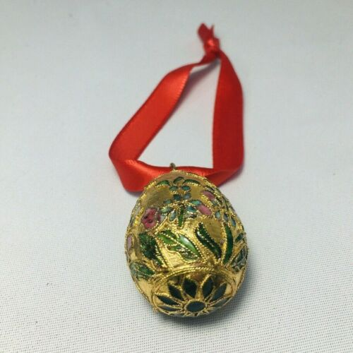 Vintage Victorian Copper Enamelling Faberge Inspired Egg Ornament Christmas