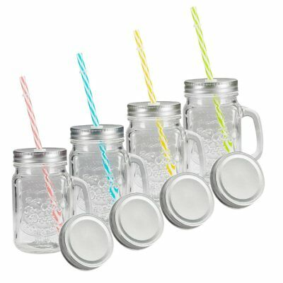 Tosnail 15 Oz. Mason Jar Mugs with Handle, Tin Lid and Plastic Straws - Old](Mason Jar With Straw)
