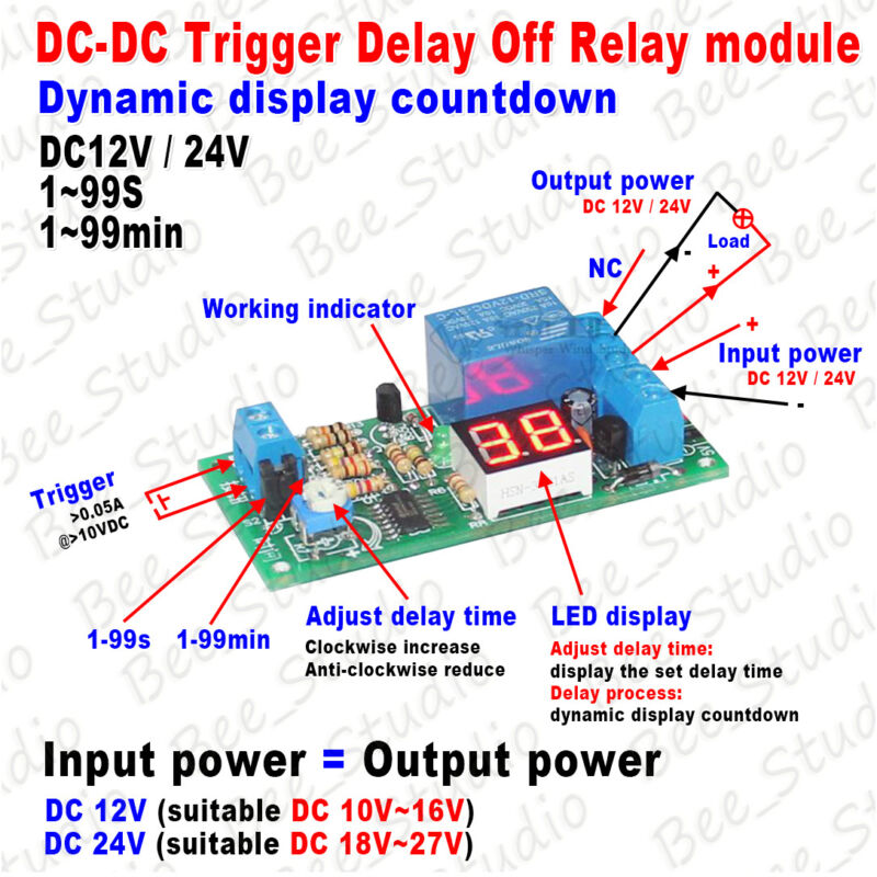 Details about DC12V 24V LED Digital Display Delay Timer Turn OFF Control  Switch Relay Module