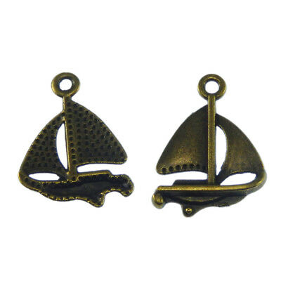 Vintage Style Bronze Mini Sailboat Zinc Alloy Jewelry Charms Pendants 38pcs/lot