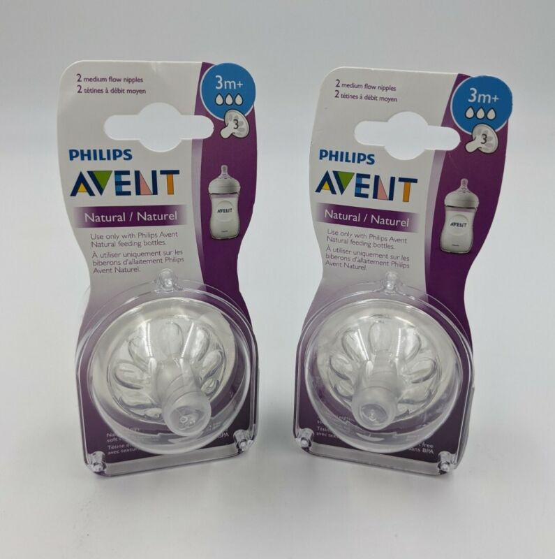 2 Packs of 2 Philips AVENT Natural Medium Flow Nipples 3m+ 3 months+ SEALED